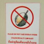 Durian interdit dans la chambre d'hôtel